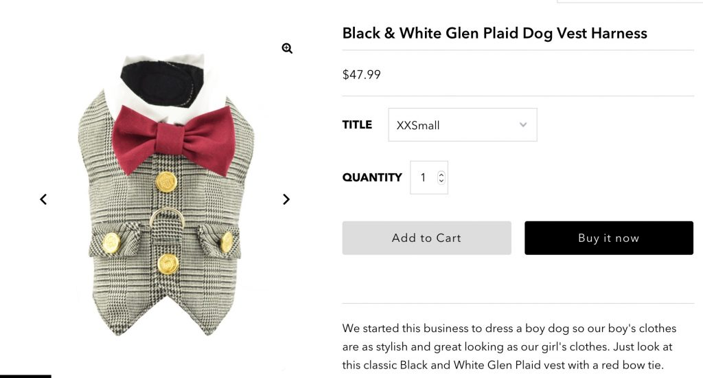 Glen Plaid Dog Vest with built in harness from Spoiled Dog Designs. For homepage of New Website.