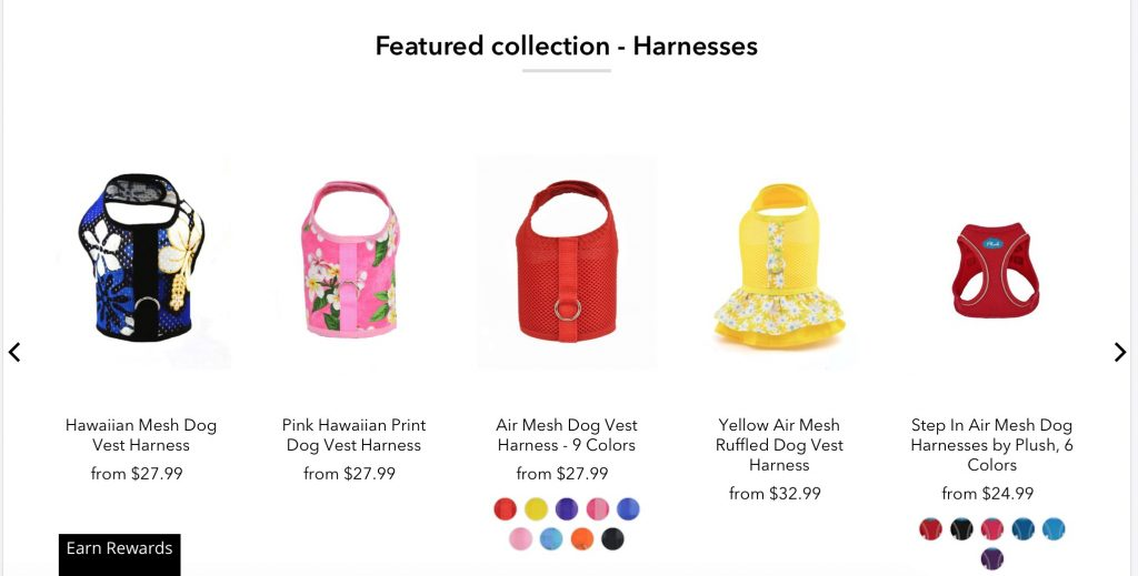 Harness Collection - the featured collection on Spoiled Dog Design's new website homepage.